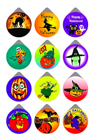 12 different types of condoms for Halloween. The designs have pumpkins, cats, and witches. Some say Happy Halloween