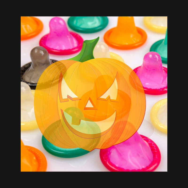 Condoms with a translucent Halloween jack-o-lantern design covering some of them